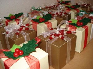 Julia's Red, Gold & Green Christmas Favours