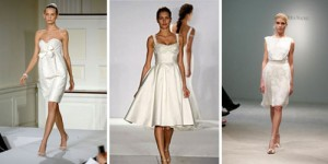 A trio of shorter style bridal gowns