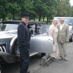 Bill & Betty with their Hired Classic Silver Beauford Car