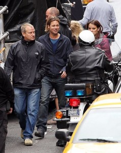 Brad Pitt on set in Glasgow City