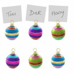 Brightly Coloured Bauble Place Card Holders