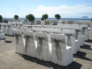 Ceremony Chairs Dressed for Outside Wedding on Terrace at Turnberry