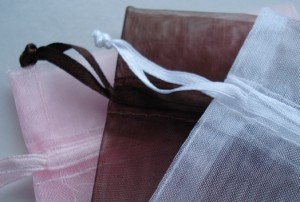 Chocolate brown, baby pink & white organza favour bags