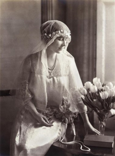 Elizabeth Bowes-Lyon in her 1920s wedding dress