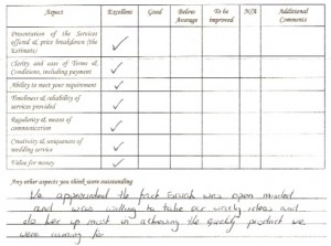 Extract of Liz & Frazer's feedback