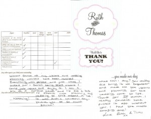 Feedback from Ruth & Thomas