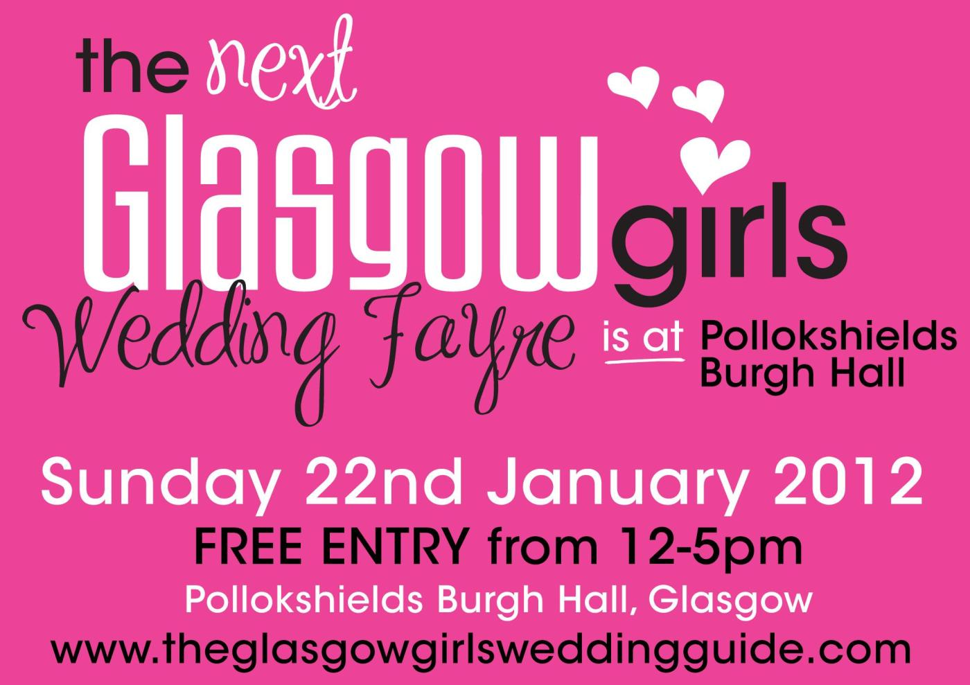 Glasgow Girls Wedding Fayre Flyer for 22nd January 2012