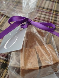 Guest Favour Filled with Home Made Tablet & Decorated with Ribbon & Trivia Card