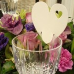 Ivory heart placecard for wine glass
