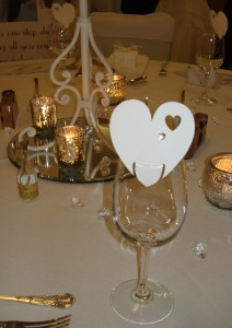 Ivory heart place card personalised with diamante heart & guest name just 59p each