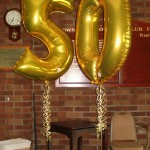 Large 50 foil balloons for decorating the stage area