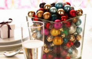 Mini baubles in a vase
