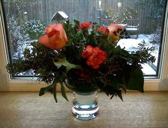 Orange Blooms with Holly Berries for Christmas