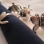Pewter insect napkin rings to complement your table setting