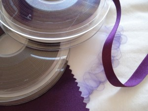 Plum Ribbon for Elizabeth & Fraser's Wedding Favours
