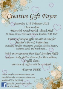 Creative Gift Fayre Flyer for Saturday 11th February 2012