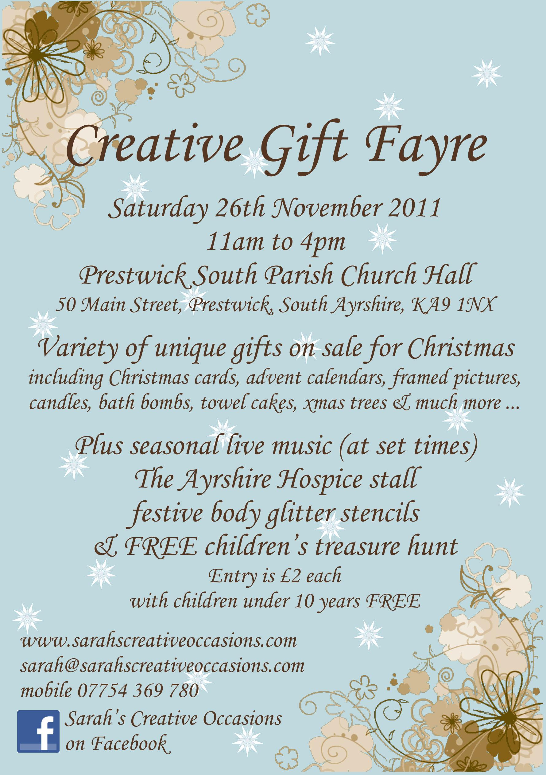 Creative Gift Fayre in Prestwick Flyer for 26 November 2011