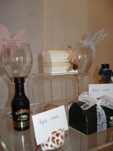 Selection of wedding favours and place cards 01