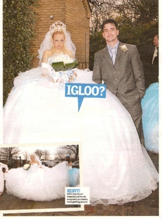 The weighty bridal gown