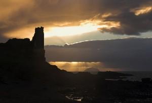 Winter sunset over Dunure Castle & Ailsa Craig